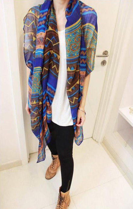 Bohemian Style Wave and Stripe Pattern Design Scarf For Women