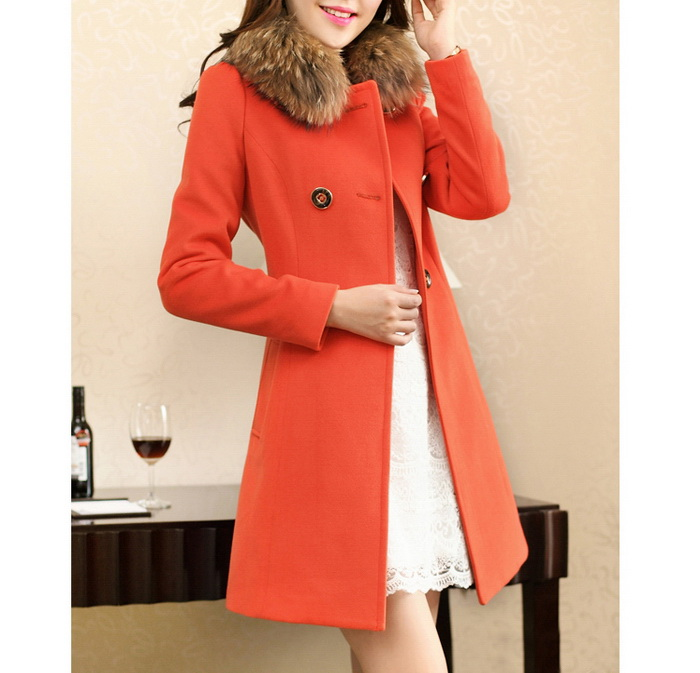 Ladylike Style Long Sleeves Worsted Double-Breasted Women's Coat