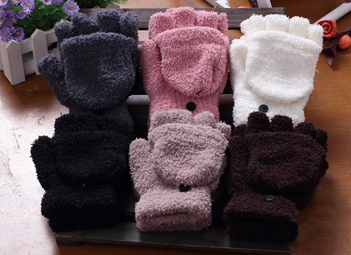 Pair Of Sweet Cashmere Hooded Winter Gloves With Exposed Fingers For Women