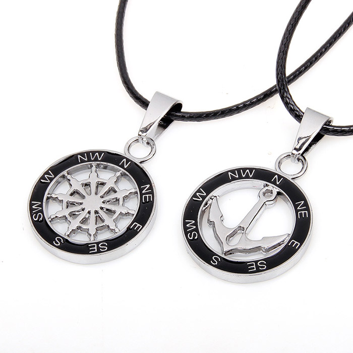 2PCS of Simple Anchor and Helm Embellished Round Pendant Necklaces For Lovers