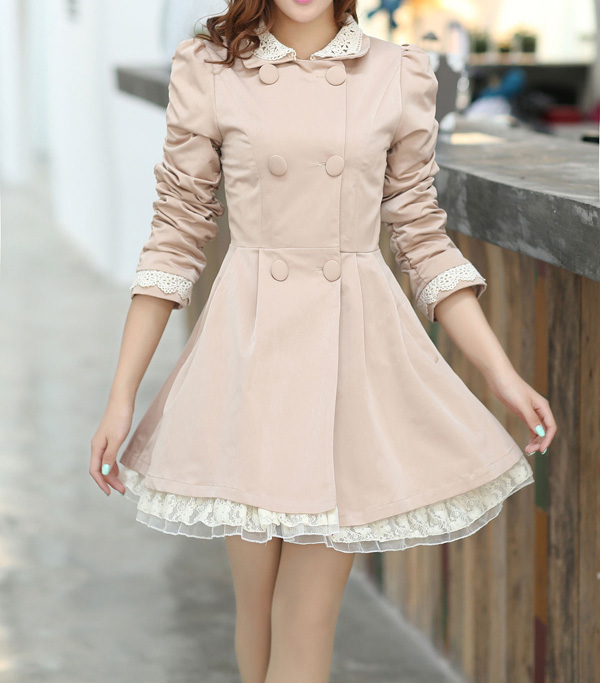 Lace Splicing Refreshing Style Long Sleeves Double-Layered Collar Polyester Women's Trench Coat