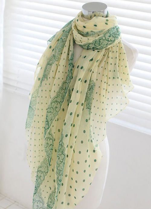 Fresh Style Dot Embellished Long Scarf For Women