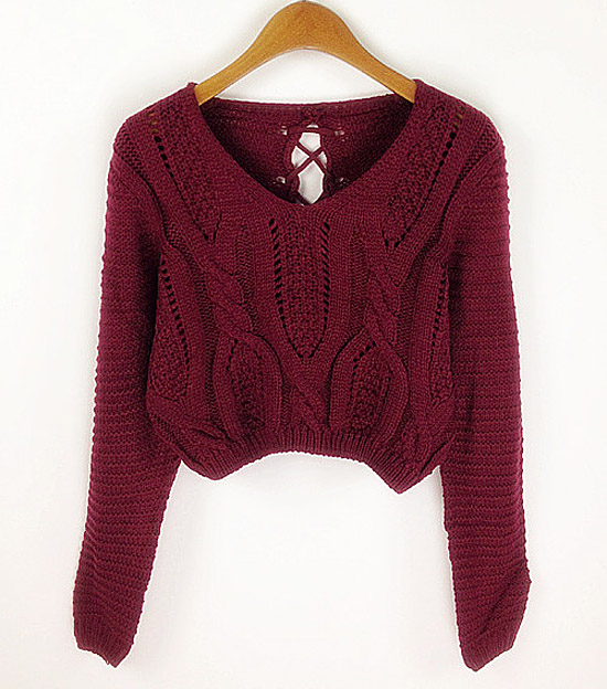 Pull Sexy Col V Manche Longue Taille Basse Pour Femmes