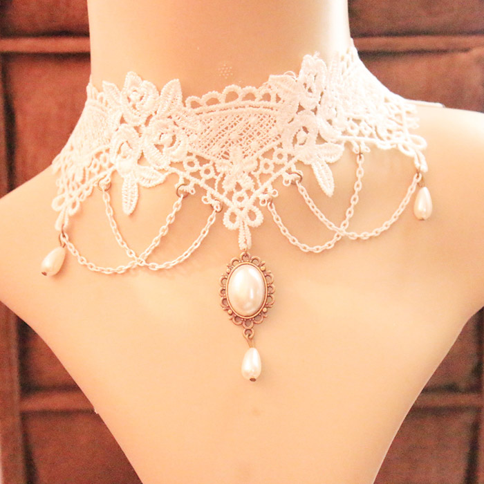 Lace Fake Pearl Pendant Necklace