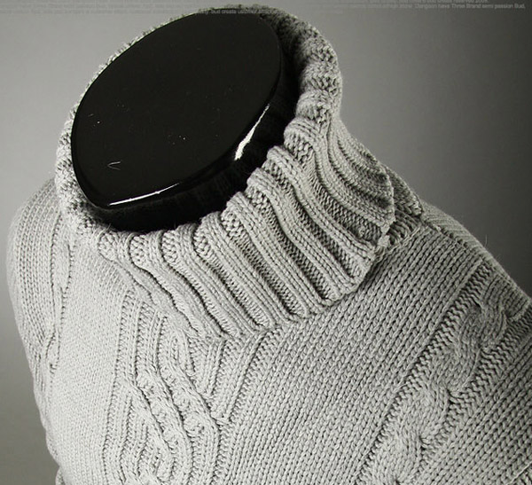 Casual Style Turtleneck Solid Color Jacquard Design Long Sleeves Men's Cotton Sweater