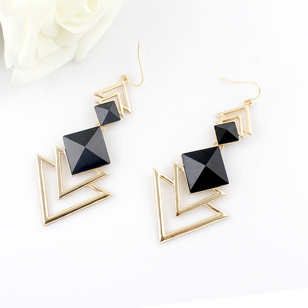 pair of chic style square faux gem design women 39 s triangle drop earrings in blue. Black Bedroom Furniture Sets. Home Design Ideas