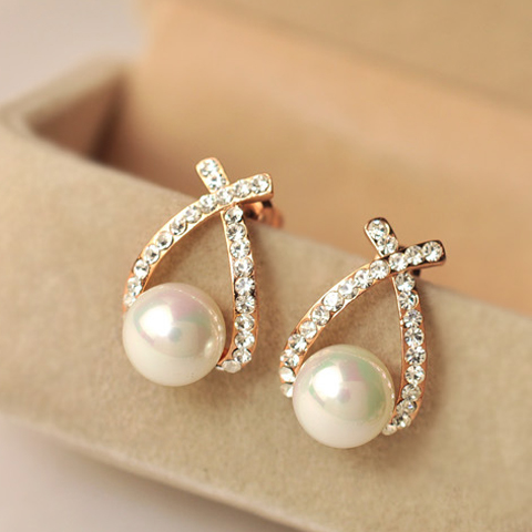 Pair of Diamante Cross Design Faux Pearl Earrings