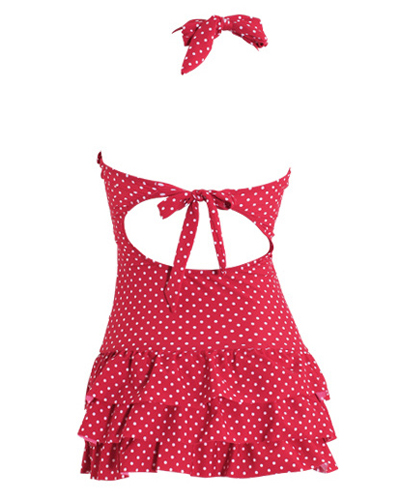 Halter Polka Dot Backless Skirted Ruffle Swimsuit