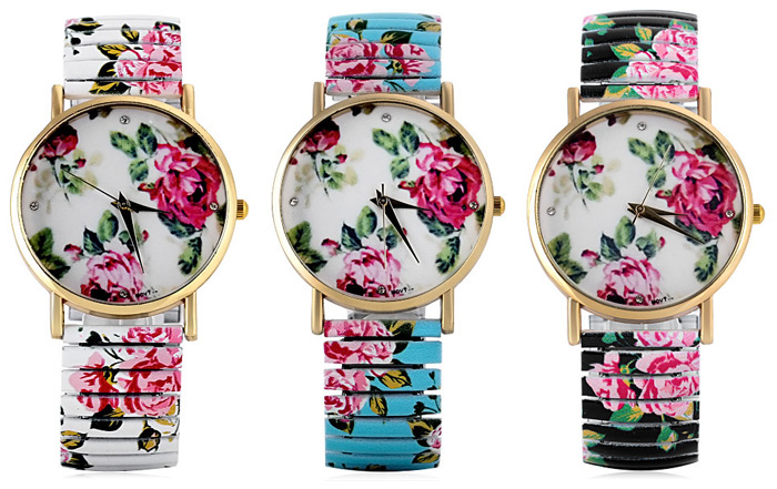 Fashional Quartz Watch with Pointer Display Peony Round Dial Elastic Watchband for Women