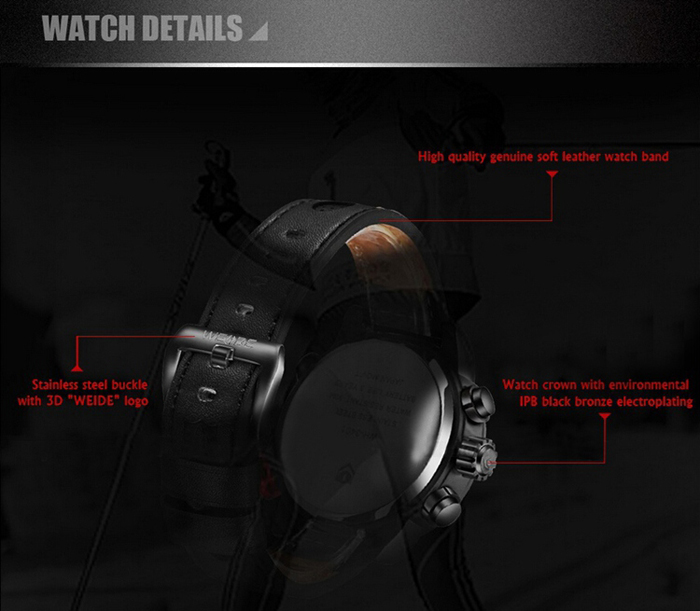 Weide WH-3401 Double Movt Analog Digital Military Quartz Watch Water Resistant for Sports