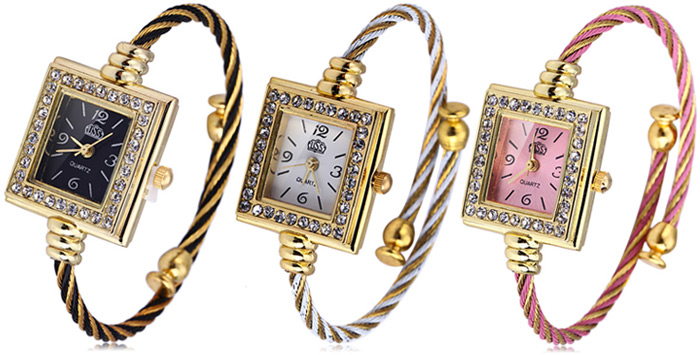 USS 1198 Women Quartz Watch Diamond Bracelet Steel Strap Rectangle Dial