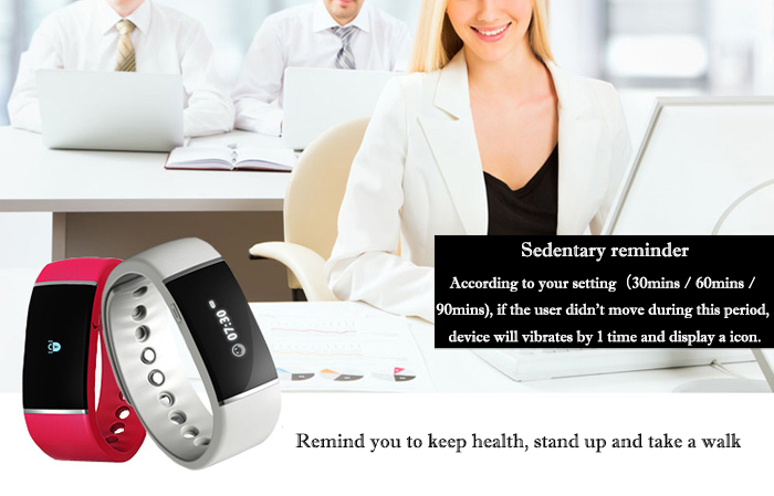 E - Band Smart Wristband Bluetooth Watch Sleep Measurement Reminder Function Pedometer