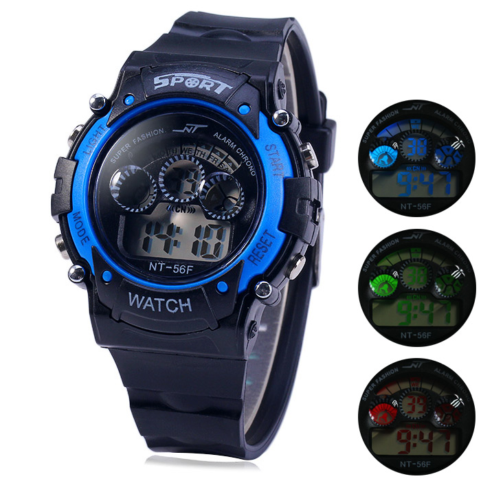 NT NT - 56F Flash Lights Sports LED Enfant Montre Jour Date Alarme Chronomètre bracelet en caoutchouc Montre-bracelet
