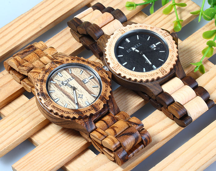 BEWELL ZS - W023A Men Wooden Bangle Quartz Watch with Date Display