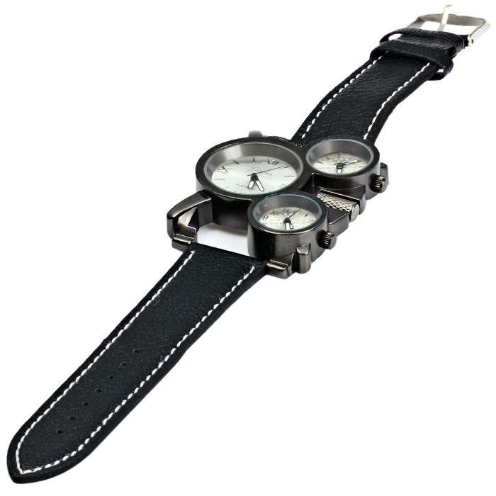 Geneva Three Movt Male Quartz Watch with Leather Band