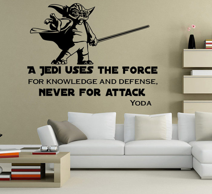 W-23 YODA Style Removable Wall Sticker Resistente al Agua Home Art Decals