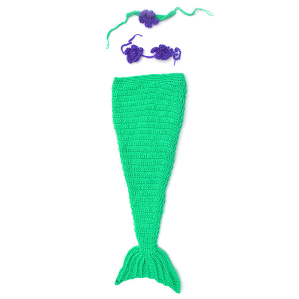 Sweet Mermaid Tail Shape Hand-made Crochet Tricoté Tricot Baby Costume Set