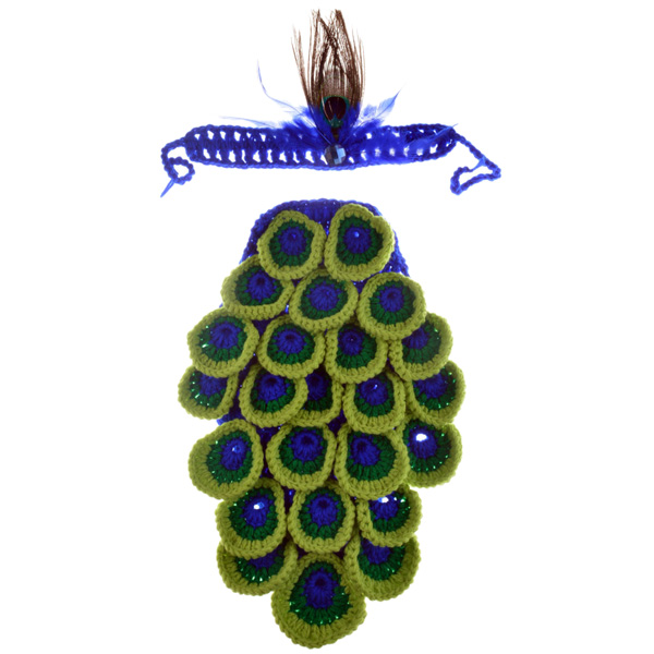 Hot Sale Manual Wool Crochet Peacock Design Vêtements pour bébé avec bandeau