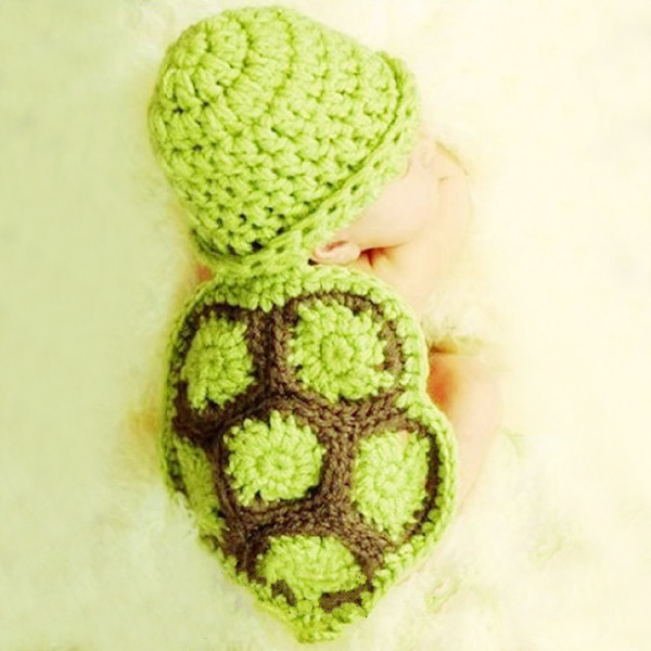 Fashion Tortoise Style à la main Crochet tricot Beanie Hat Set de vêtements pour bébé