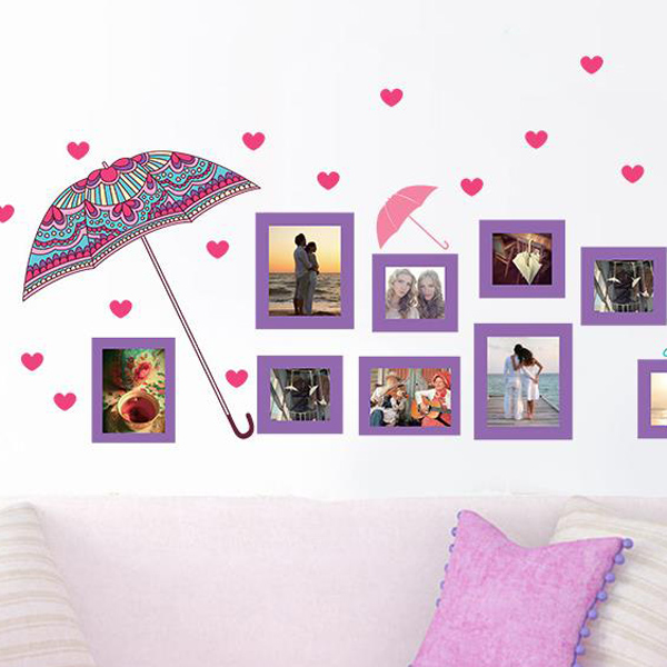 Flower Umbrella and Photo Frame Decals Removeable Wall Stickers