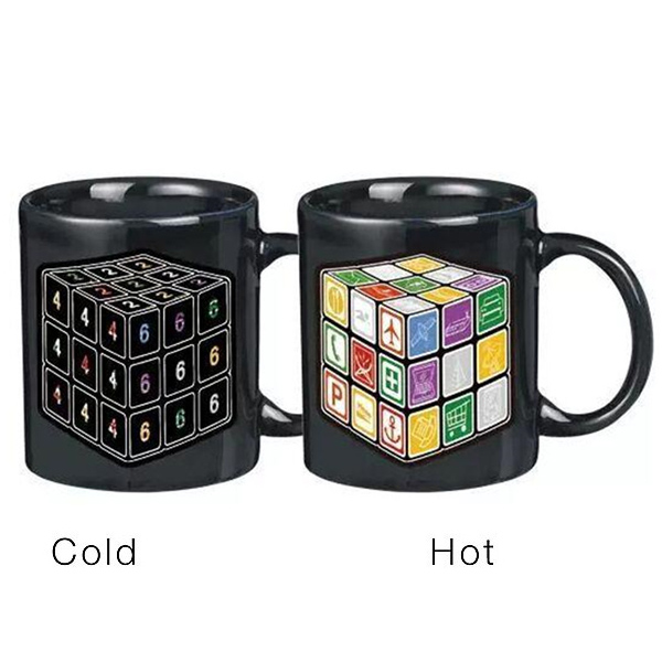 Novelty Office Tea Coffee Cup Rubik's Cube Pattern Color Changing Ceramic Mug