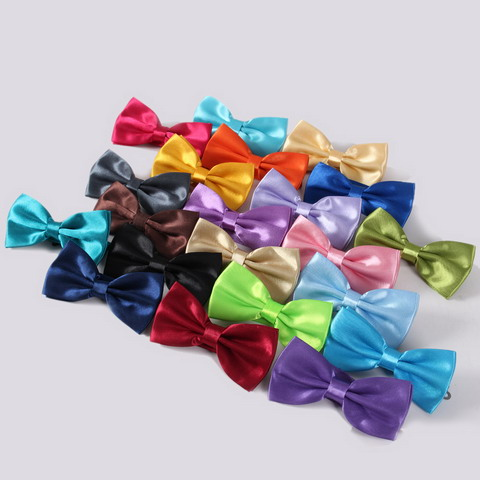 Élégant Solide Couleur lisse Satin Bow Tie For Men