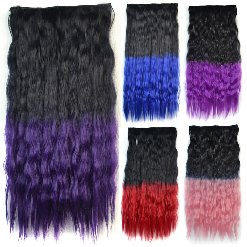 Fluffy Corn Hot Curly Clip On Sans Bouchon Ombre Color Long Synthetic Hair Extension For Women