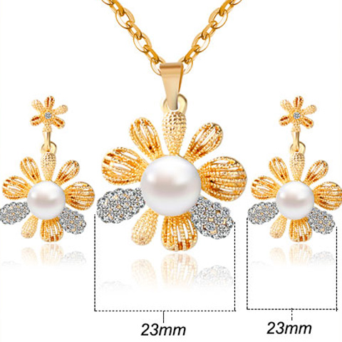 A Suit of 3D Flower Faux Pearl Necklace and Earrings
