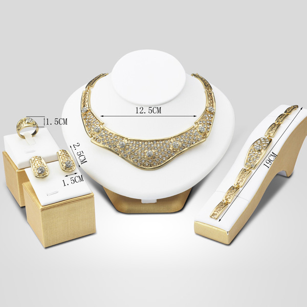 A Suit of Fashion Rhinestone Hollow Out Necklace Bracelet Ring Earrings