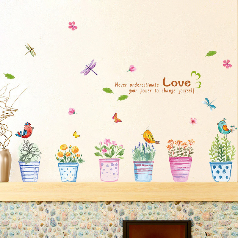 Creative Hand painted Bonsai Pattern Wall Sticker For Bedroom Livingroom Decoration