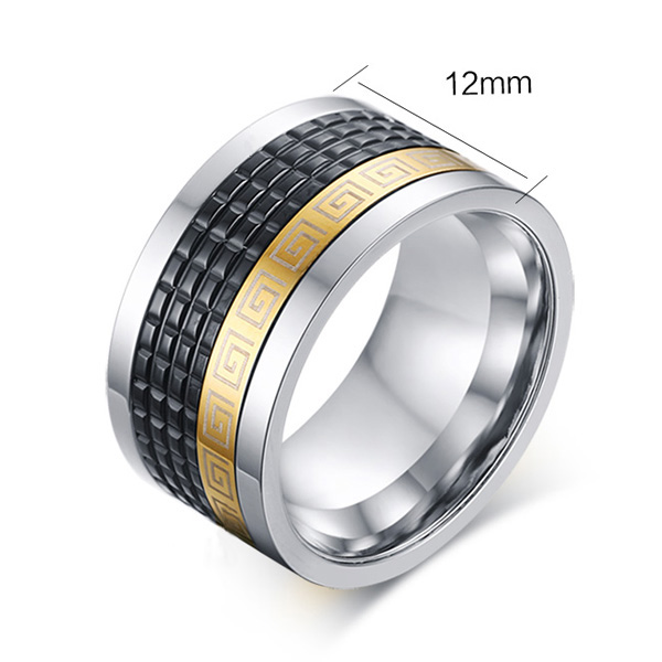 Modern Geometric Pattern Rotatable Ring For Men