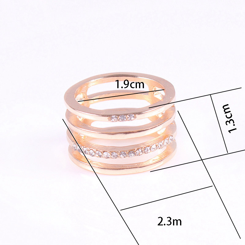 Hollow Out Rectangle Rhinestone Ring
