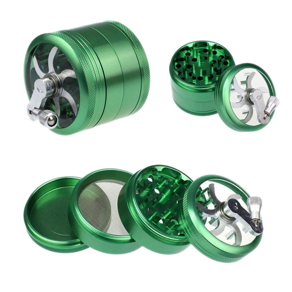 High Quality Hand Crank Four Layers Zinc Alloy Tobacco Grinder