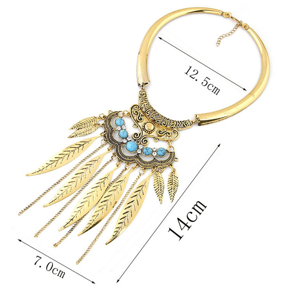 Faux Turquoise Feather Chain Tassel Statement Necklace