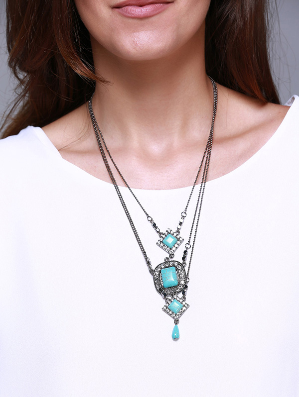 Rhombus Oval Faux Turquoise Multilayered Necklace