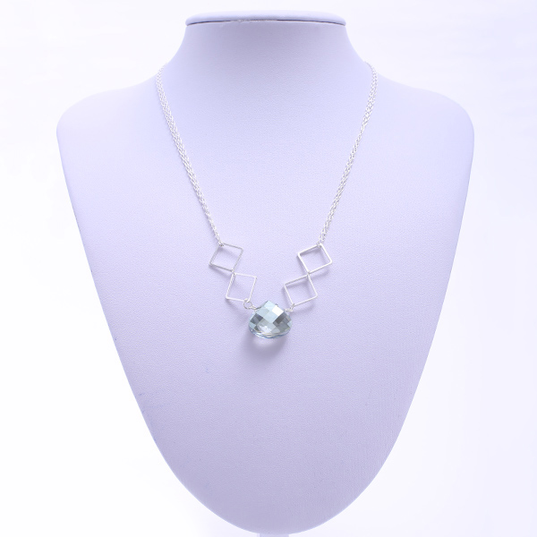 Faux Crystal Geometric Hollow Out Necklace