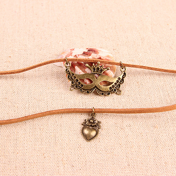 Vintage Double Layered Mask and Peach Heart Necklace
