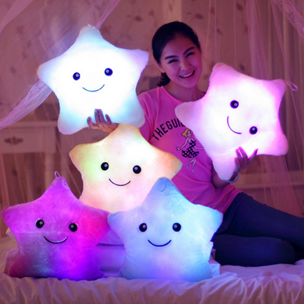 Creative Lucky Star Shape Gift Luminous Smiling Face Musical Pillow