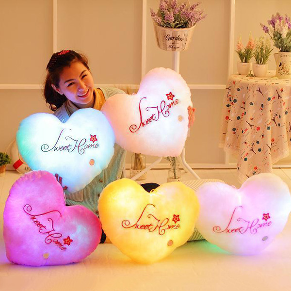 Creative Heart Shape Valentine's Day Gift Luminous Letters Embellished Pillow
