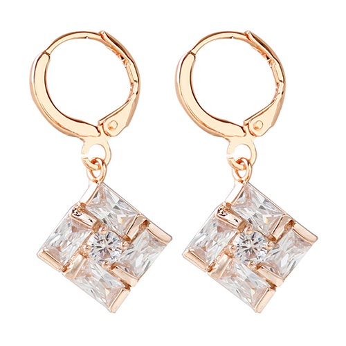 Pair of Gorgeous Faux Crystal Square Drop Earrings For Women