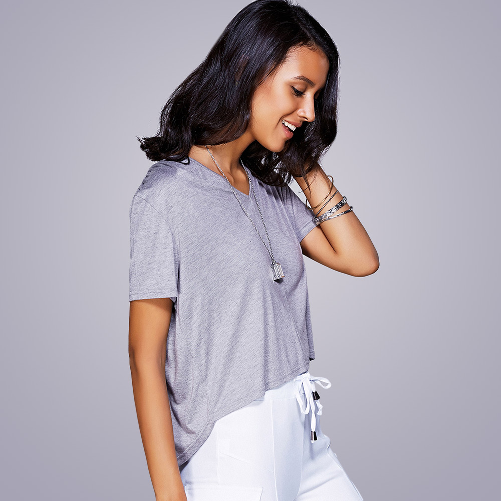 Casual V-Neck High Low T-Shirt For Women