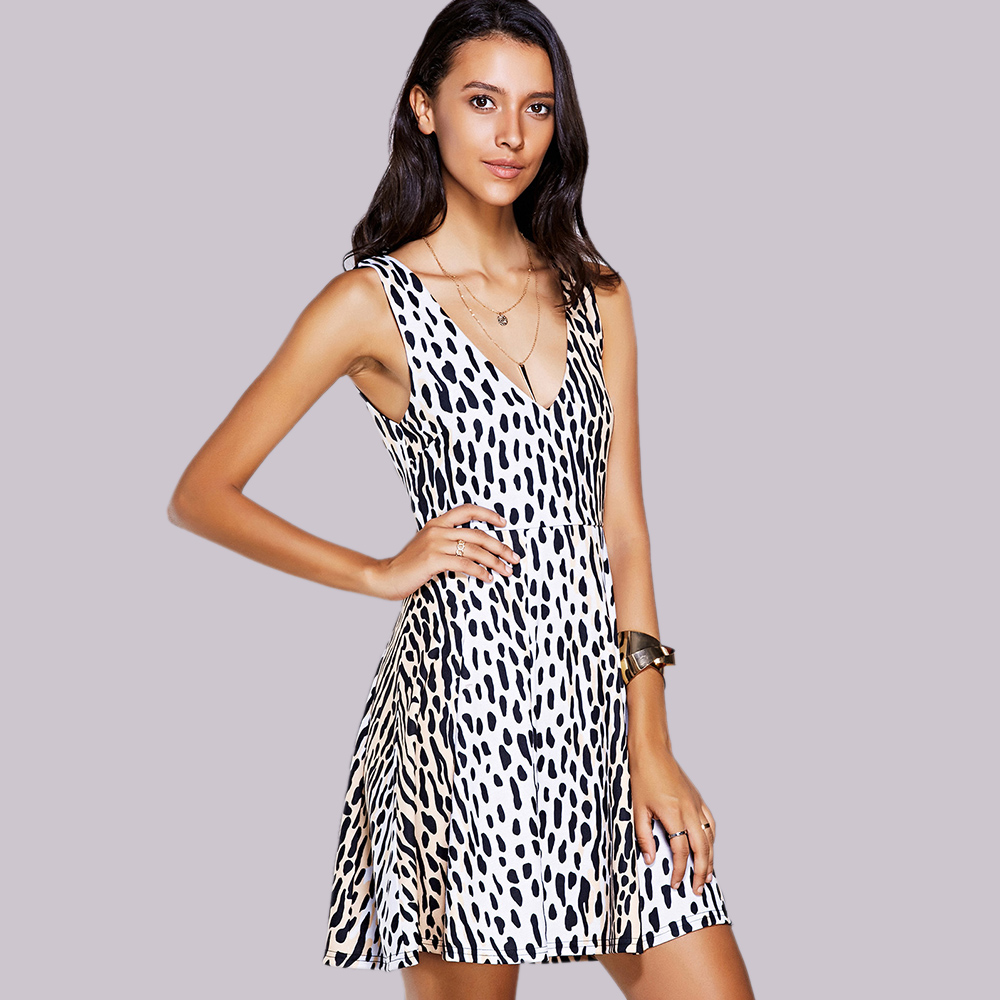 Stylish V-Neck Print A-Line Dress For Women
