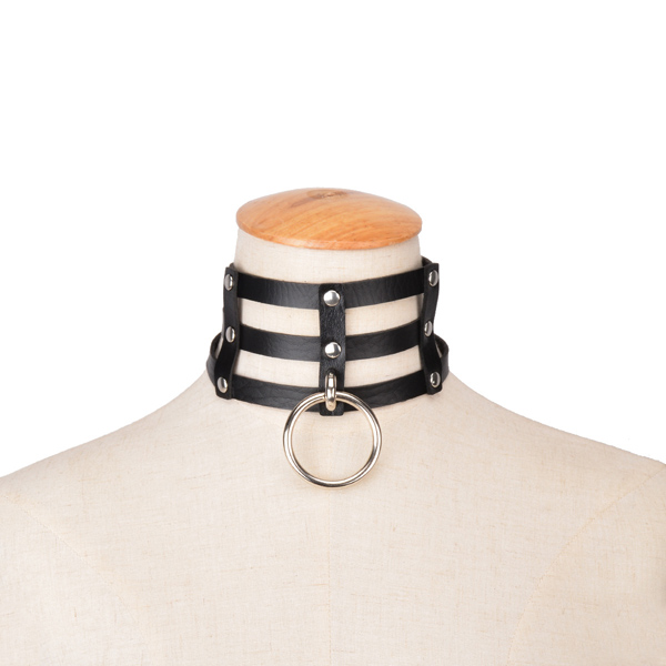 Punk Style Layered Faux Leather Circle Necklace For Women