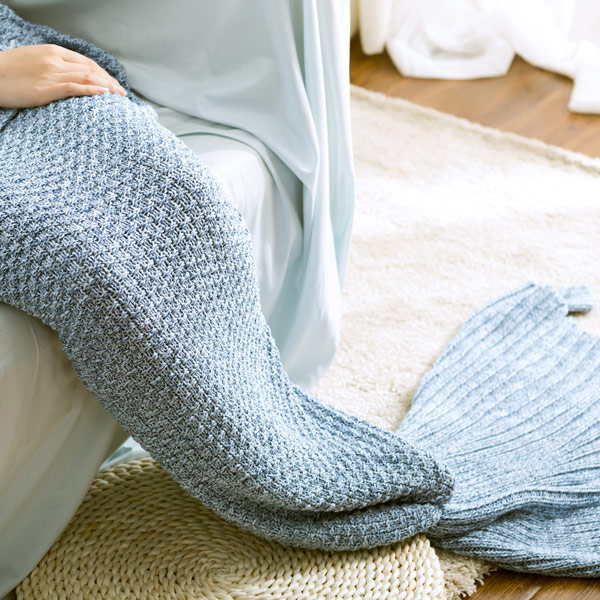 Haute Qualité Solide Couleur Coton tricoté Sofa Mermaid Tail Blanket