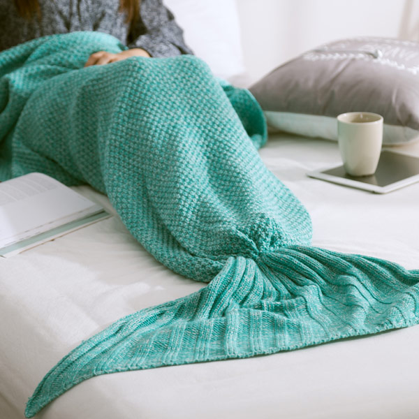 Handmade Knitted Home Decor Mermaid Tail Blanket
