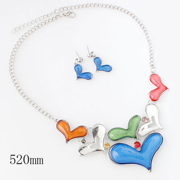 A Suit of Hearts Pendant Necklace and Earrings