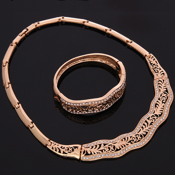 A Suit of Gorgeous Rhinestone Branch Necklace Bracelet Ring and Earrings For Women