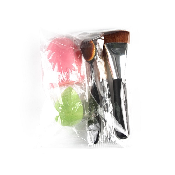 Stylish 5 Pcs/Set Blush Brush + Foundation Brush + Flat Contour Brush + Makeup Sponge + Brush Egg