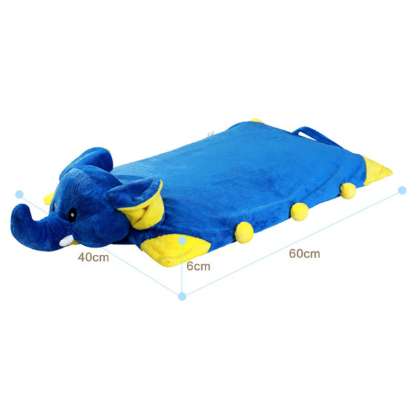 Chic Quality Cartoon Blue Elephant Shape Foldable Latex Pillow For Child