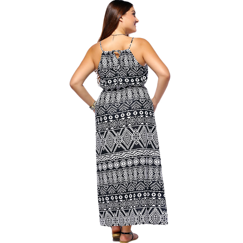 Chic Women's Geometrical Printed Sleeveless Plus Size Dress